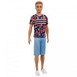 Barbie fashionista fiú barátok - szőke hajú Ken piros-kék mintás pólóban (kép 1)