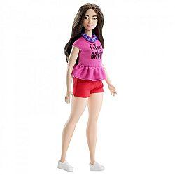 Barbie Fashionista barátnők - molett barna piros rövidnadrágban (kép 1)