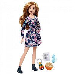 Barbie bébiszitter baba - Vörös virágos ruhában (kép 1)