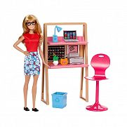 Barbie szoba babával - iroda