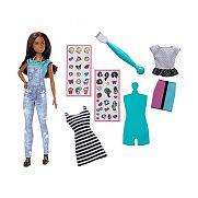 Barbie D.I.Y. Emoji ruhatervező baba - barna